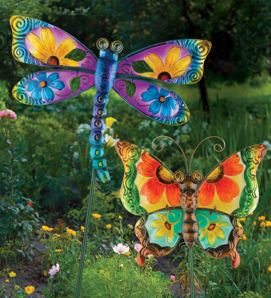 floral butterfly stake green the old farmer 39 s general store. Black Bedroom Furniture Sets. Home Design Ideas