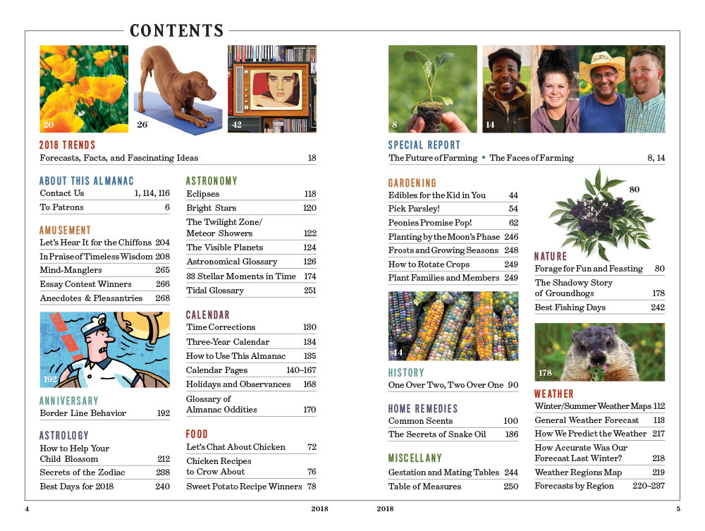 2018 Farmer's Almanac Table of Contents