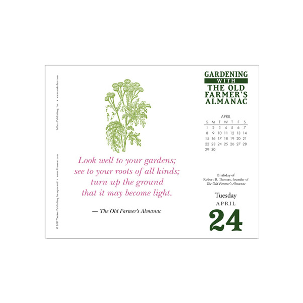 The 2018 Old Farmer's Almanac Gardening Boxed Daily Calendar