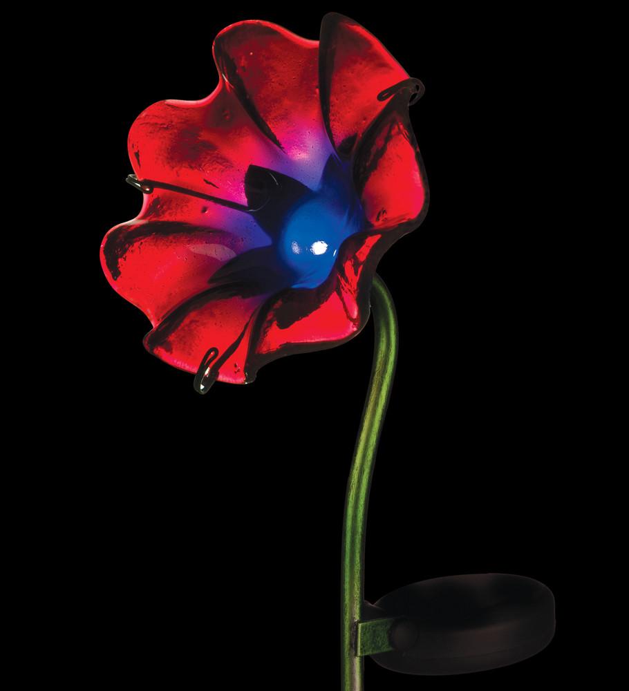 Mini Solar Poppy Stake - Red
