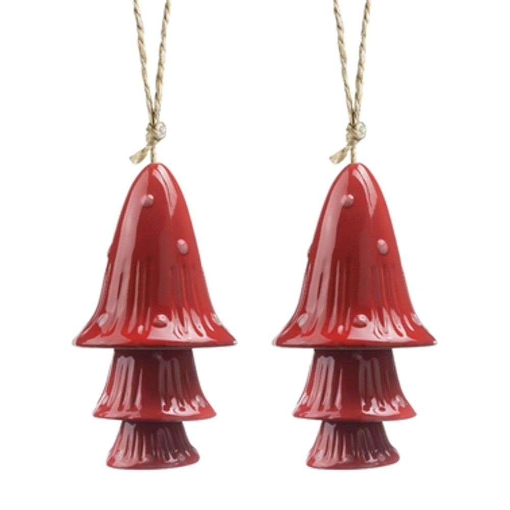 Red Spotted Mushroom Windchimes Set of 2
