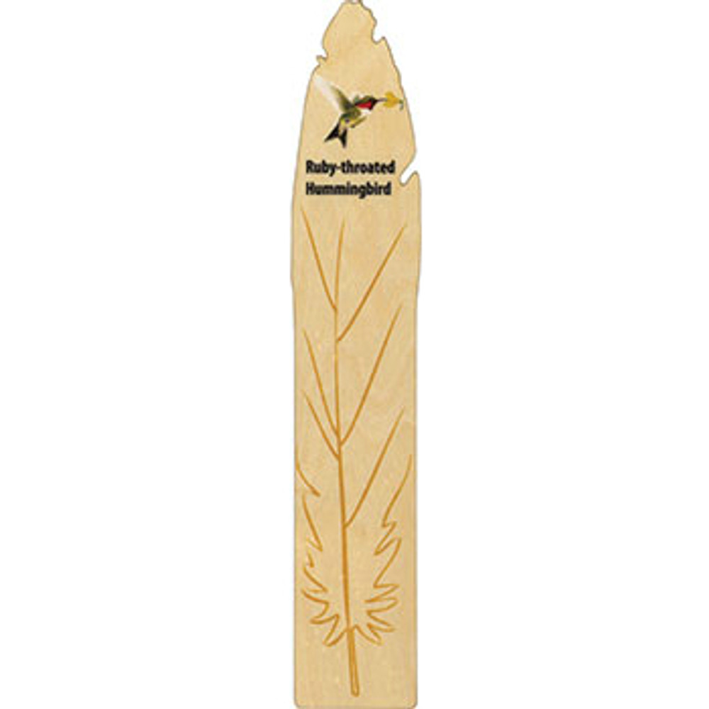 Hummingbird Wooden Feather Bookmark