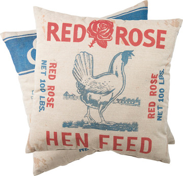 Feed Sack Pillow - Red Rose Hen Feed