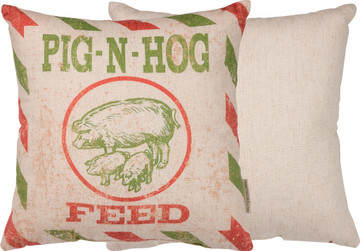 Feed Sack Pillow - Pig N Hog