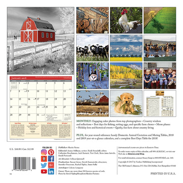The 2018 Old Farmer's Almanac Country Calendar