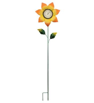 Thermometer Stake - Orange Flower