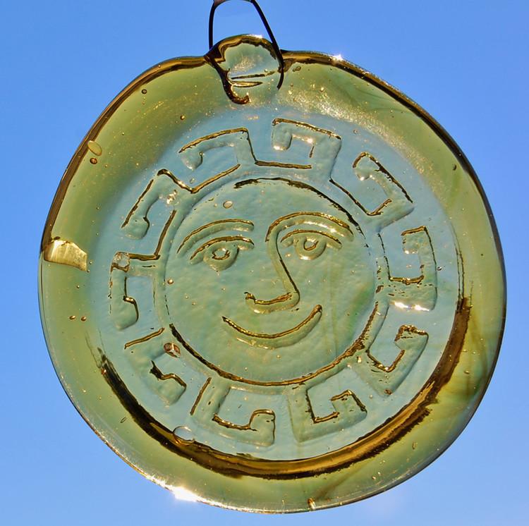 Handmade Glass Sun Catcher Coin Sunface