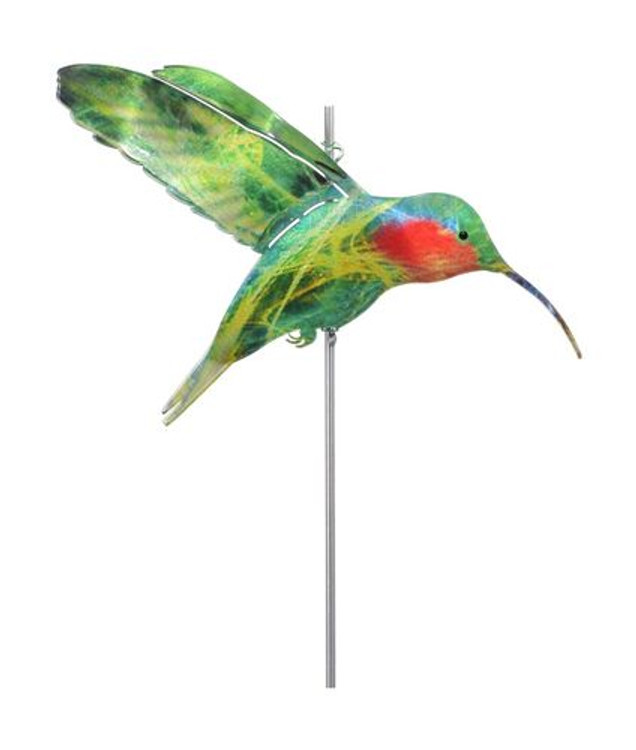 Color Infused Metal Garden Stake - Hummingbird
