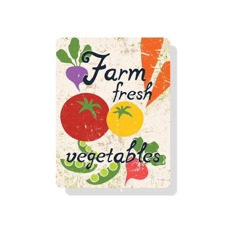"Farm Fresh Vegetables Sign 9"" x 12"" (Seashell)"