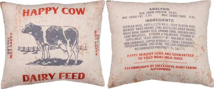 Feed Sack Pillow - Happy Cow Dairy