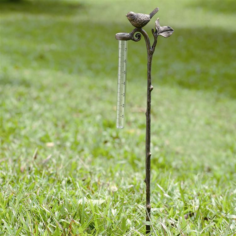 Bird Rain Gauge Garden Stake