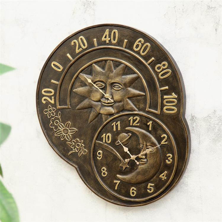 Sun and Moon Clock and Thermometer