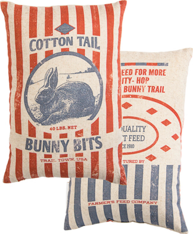 Feed Sack Pillow - Bunny Bits