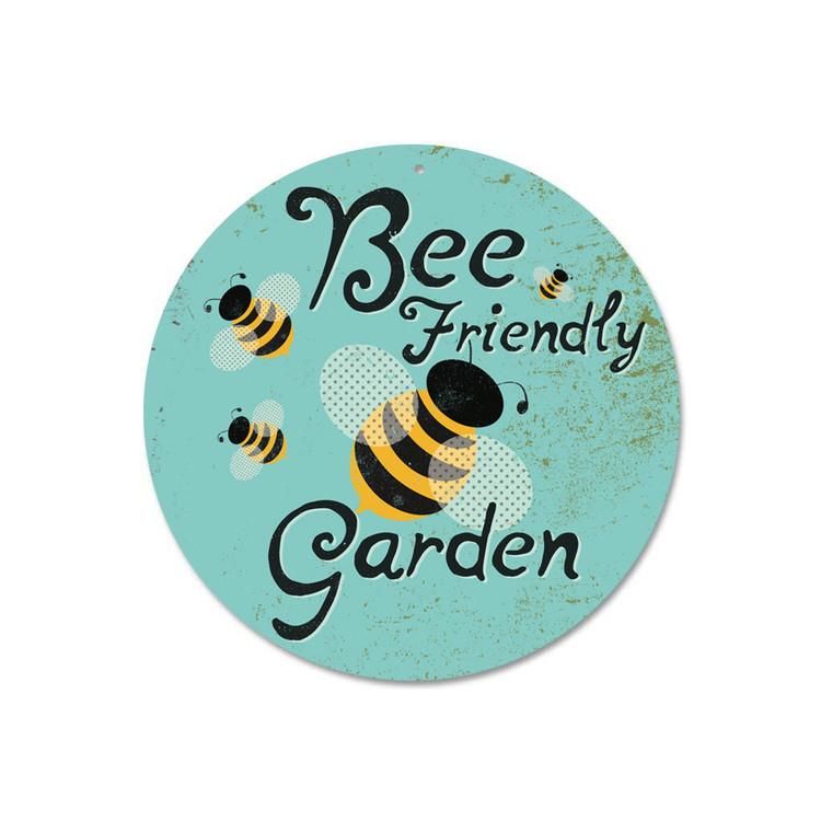 """Bee Friendly Garden Sign 9"""" Round - Sky"""