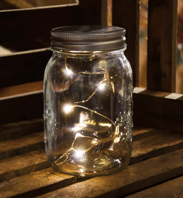 Lighted Glass Mason Jar