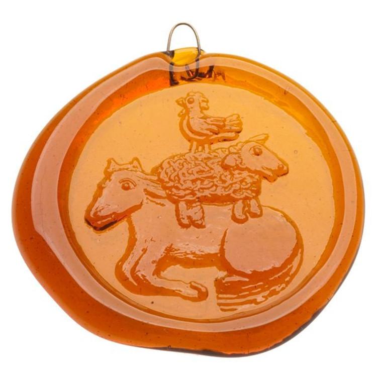 Handmade Glass Sun Catcher Coin Horse, Sheep, Chicken