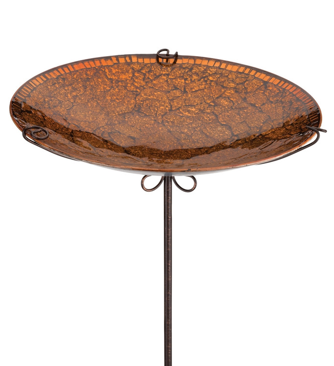 Birdbath/Feeder Stake 14 - Amber Crackle