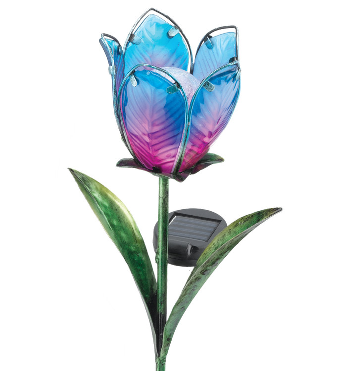 Solar Tulip Stake - Blue/Pink
