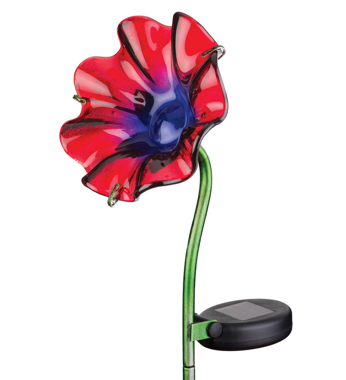 Mini Solar Poppy Stake - Red