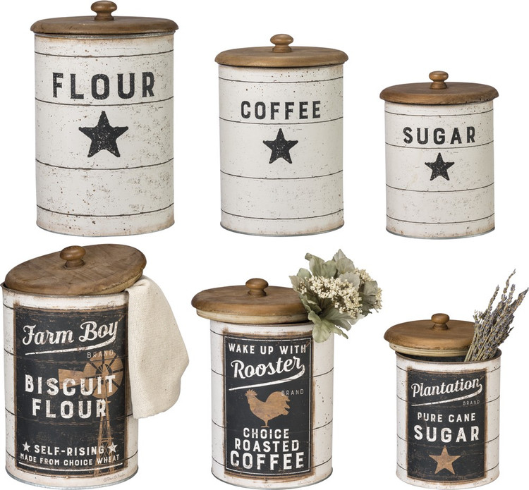 Tin Canisters - Sugar, Coffee, Flour