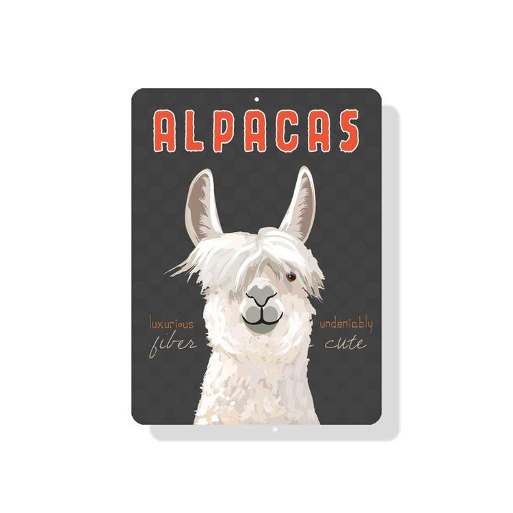 "Alpacas Luxurious Fiber Undeniably Cute Sign 9"" X 12"" Gray"