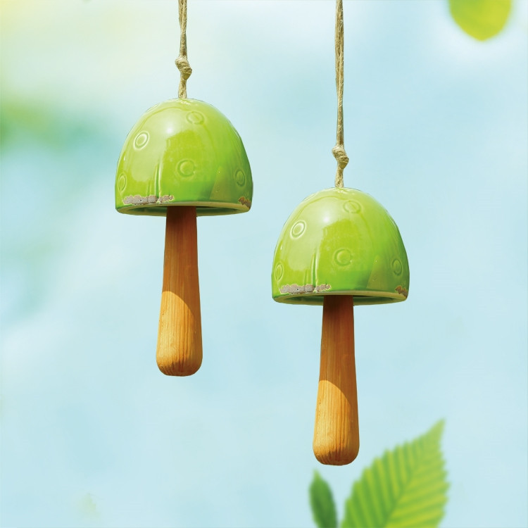 Green Mushroom Windbells, Set of 2