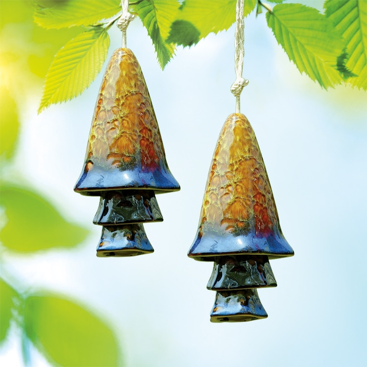 Blue Banded Mushroom Windchimes, Set of 2