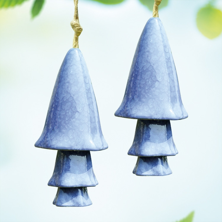 Blue Mushroom Windchimes, Set of 2