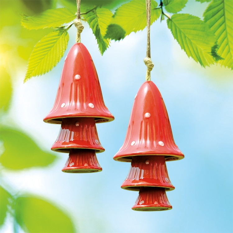 Red Spotted Mushroom Windchimes, Set of 2