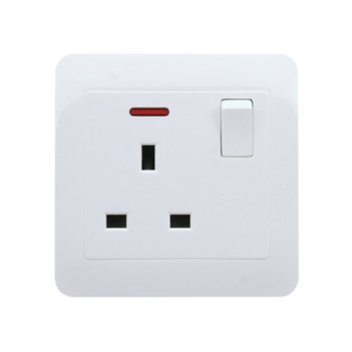 My Home Diy White 13A 1 Gang Switch Socket With Neon