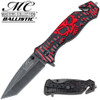 Masters Collection TACTICAL Knife Red/Black Skull Tanto AssistOpen GLASS Breaker