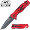 Masters Collection TACTICAL Knife RED Skull Tanto GLASS Breaker Rescue Belt Cut