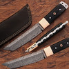 White Deer Damascus Steel Tanto Point Hunting Knife Buffalo Horn Handle