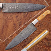 Custom Handmade Damascus Steel Chef Knife Olive Wood Handle