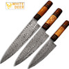 White Deer Custom Made Damascus Chef Knife Set of 3 Knife Olive Wood Handle