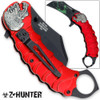 Z-HUNTER Zombie Tactical Karambit Red Knife Assisted-O Glass Breaker Finger Ring
