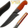 White Deer Damascus Steel Custom  Knife Orange Color Camel Bone Handle