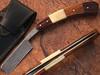 White Deer Damascus Steel Straight Razor W/ Bone & Wood Handle