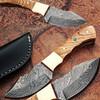 Custom Made Damascus Steel Skinner Knife w/ Olive Wood Handle Co