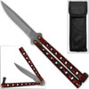 Scoundrel Alloy Balisong Butterfly Knife Red & Black Marble Matrix