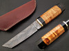 White Deer Rebel Nemesis Damascus Tanto Knife Custom Olive Wood Handle