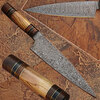 Custom Made Damascus Steel Olive wood ,Hard wood Handle