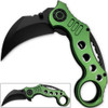 Tactical Extreme Karambit Knife   Spring Assisted Blade Green Handle
