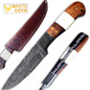 White Deer Custom Made Damascus Skinner  Knife w/ Full Tang Bone Walnut-Wood