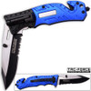 8in TAC Force Police Rescue Flashlight Pocket Knife Spring Assisted Folding Blue
