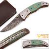 WHITE DEER Magnum Trailmaster Damascus Folding Knife