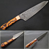 Santoku Damascus Steel Forged Chef Knife Wood Chip Resin by White Deer