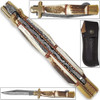 Tall Mans 11.25in Sicilian Damascus Knife Stag Grips Brass Bolstered
