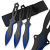 Akuma Arachnid Demon Ninja Throwing Knives 3pcs Set Black Icy Blue Trim Spider