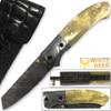 White Deer Spey Point Wharn-Blade Folding Damascus Knife